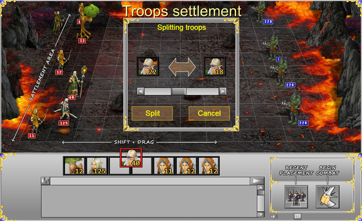 Troops settlement